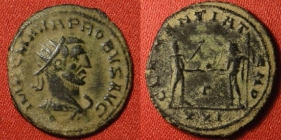 PROBUS AE antoninianus. Antioch mint, Clementia Temp, Emperor receiving Victory from Jupiter.