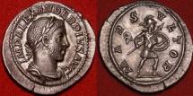 Ancient Coins - SEVERUS ALEXANDER AR silver denarius. 231-235 AD. MARS VLTOR, Mars advancing. Very attractive