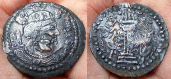 Turk Shahi Kings of Kabul and Gandhara,Shahi Tigin. Circa 710-720 AD. Æ Drachm