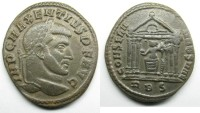 Ancient Coins - Maxentius: AE Folles, Roma in hexastyle temple