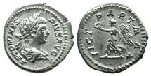 Ancient Coins - Caracalla (198-217). AR Denarius. Rome, 202.  R/ Victory