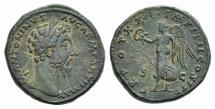 Ancient Coins - Marcus Aurelius (161-180). AE Sestertius. Rome, 167. R/ VICTORY