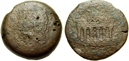 EGYPT, Alexandria, Antoninus Pius, 138-161 A.D. Æ Drachm (32 mm, 27.72 gm.) Good/VG Altar of Agathodaimon