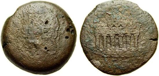 Ancient Coins - EGYPT, Alexandria, Antoninus Pius, 138-161 A.D. Æ Drachm (32 mm, 27.72 gm.) Good/VG Altar of Agathodaimon