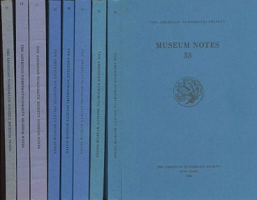 Good Run of 8 Various Issues of Museum Notes of American Numismatic Society 14, 16, 17, 25, 28, 30, 31, & 33