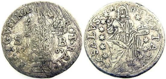 Dalmatia, Ragusa, Silver Perpero (26 mm, 5.47 gr.) 1707, Nice VF