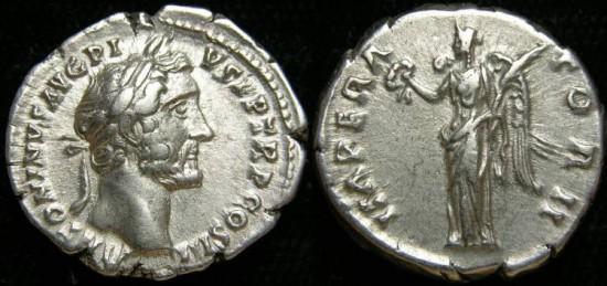 Ancient Coins - ANTONINUS PIUS, (138-161 A.D.), AR Denarius (3.45 gr, 18 mm). Struck 143-144 AD. Victory aEF