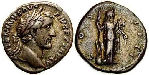 ANTONINUS PIUS, 138-161 A.D. AR Denarius (18 mm, 3.54 gm., 6h), Struck 151-152 A.D. Good VF Fortuna