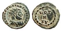 Ancient Coins - Constantius I 1/4 follis radiate. Carthage mint, c. 303 A.D.;  VOT / X / F K.