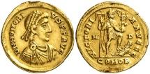 Ancient Coins - Honorius (393-423 A.D.) Gold Solidus. Mediolanum mint, M-D, COMOB; 394.395. VICTORIA AVGGG. VF+