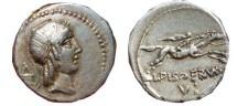 Ancient Coins - L. Calpurnius Piso Frugi AR denarius. 90 BC. L.PISO.FRVGI,  V.
