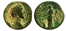 Ancient Coins - Commodus sestertius. 177-192 AD. Annona standing left .