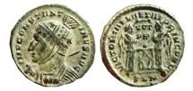 Ancient Coins - Constantinus I helmeted follis. Londinum mint. 307-337 AD LAETAE PRINC PER P. SLN.