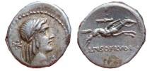Ancient Coins - L. Calpurnius Piso Frugi AR denarius. 90 BC. L.PISO.FRVGI, P.